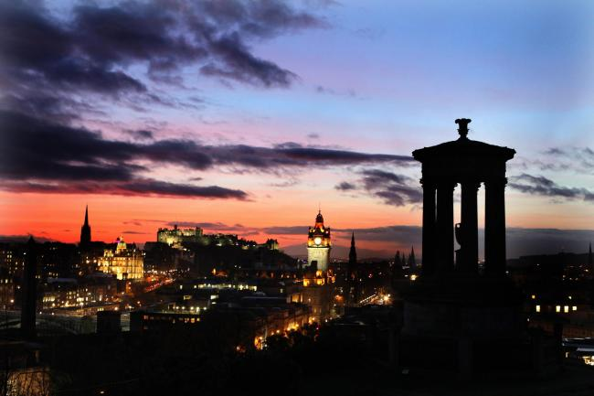 The sunsets over the skyline in Edinburgh. Picture: Andrew Milligan/PA Wire.