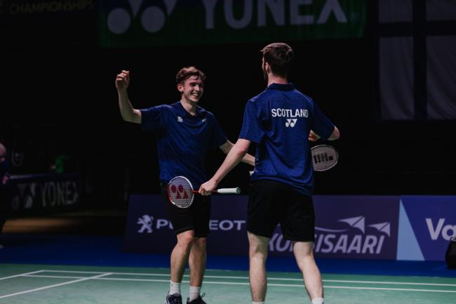 Adam Hall and Christopher  Grimley comprehensively defeated Niclas Nohr and Anders Rasmussen PHOTO: Badminton Scotland/Koen Mutton