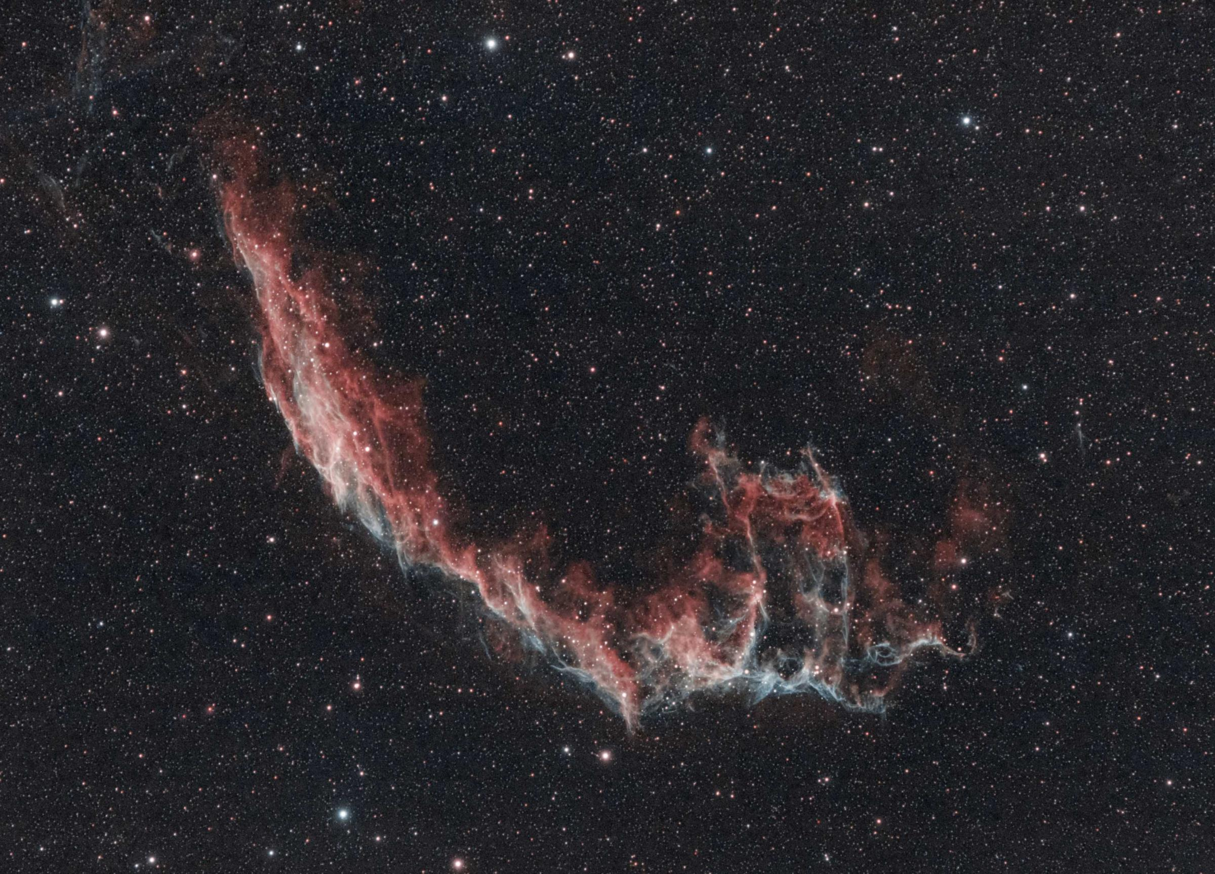 The Veil Nebula, a huge, feathery cloud of heated gas and dust in the constellation Cygnus - pictured by 16-year-old Scottish astro-photographer Helena Cochrane   -  - Space race is on for these three women involved in Big Bang festival