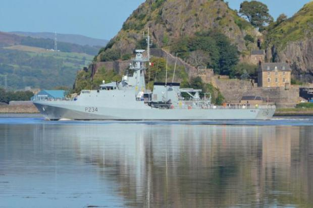 HeraldScotland: HMS Spey leaving Glasgow in October. Picture: BAE Systems