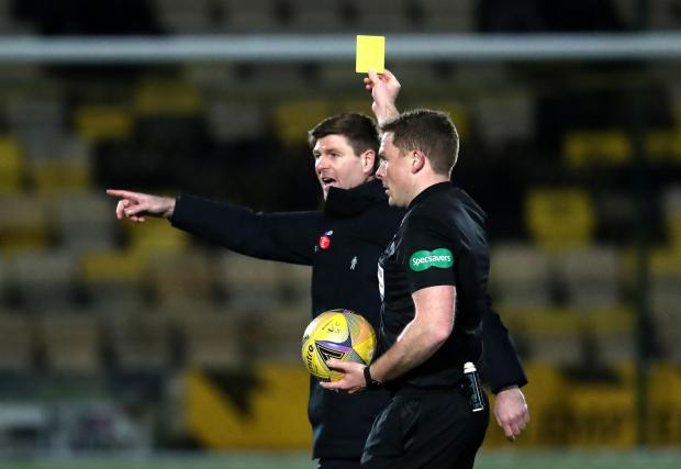 HeraldScotland: Rangers manager Steven Gerrard is shown a yellow card during the Scottish Premiership match at the Almondvale Stadium, Livingston