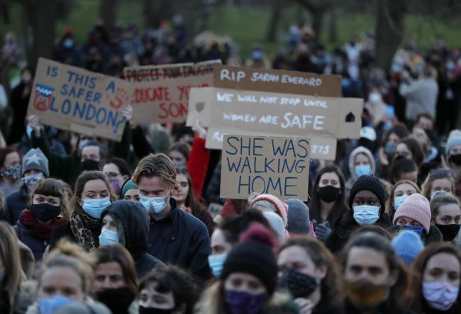Demonstrators gathered on Clapham Common, in memory of Sarah Everard, on Saturday