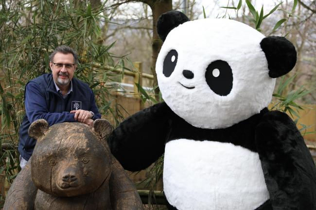 David Field, Royal Zoological Society of Scotland chief executive, with the Cheeky Panda mascot.