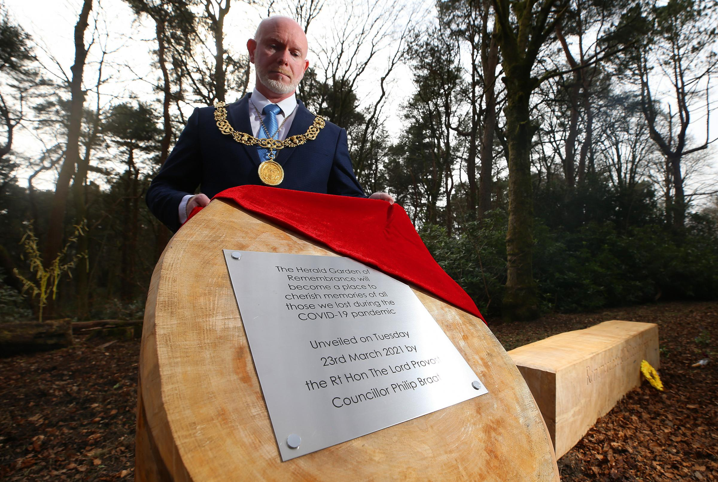 The plaque unvieled by Lord Provost of Glasgow Philip Braat in Pollok Country Park, was taken within hours