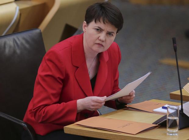 HeraldScotland: Scottish Conservatives Holyrood leader Ruth Davidson during First Minister's Questions at the Scottish Parliament in Holyrood, Edinburgh. Picture date: Wednesday March 24, 2021. PA Photo. See PA story SCOTLAND Questions. Photo credit should read: