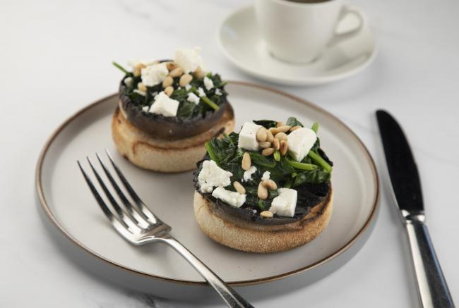 Gary Townsend: Toasted muffins With mushroom, feta, spinach and pine nuts
