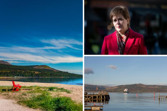 Arran, Getty Images; Nicola Stugeon, Jane Barlow PA|, pool; ferry between Rothesay and Wemyss Bay, Getty Images.