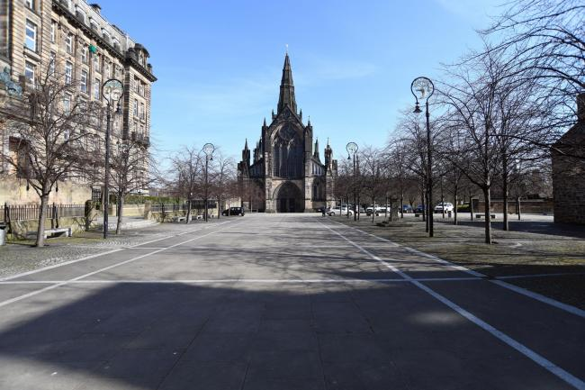 The streets of Glasgow are quieter around Glasgow Cathedral  Picture: Michael Boyd