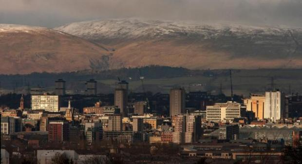 HeraldScotland: The view over Glasgow towards the Campsie Fells. Picture: Colin Mearns