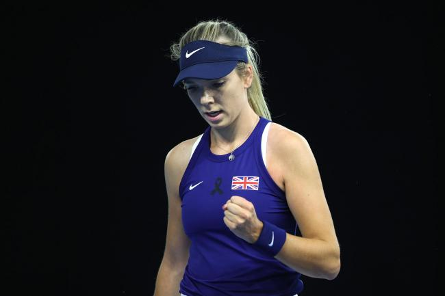 Katie Boulter clenches her fist during her victory over Giuliana Olmos