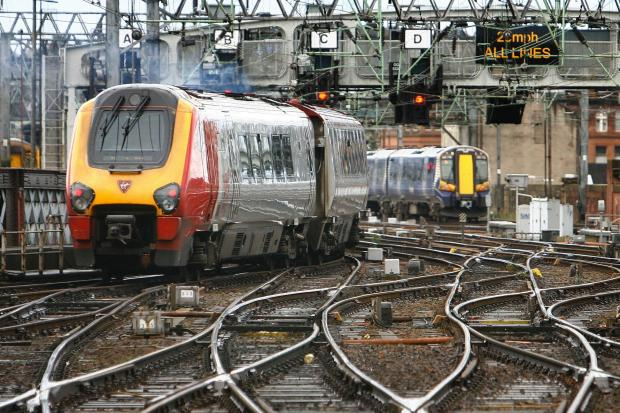West Coast Mainline Contract. Virgin and First Group Trains ay Glasgow Central Station.