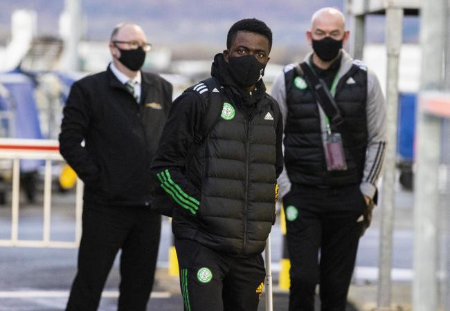 Celtic midfielder Ismaila Soro at Glasgow Airport in January before the flight to Dubai.