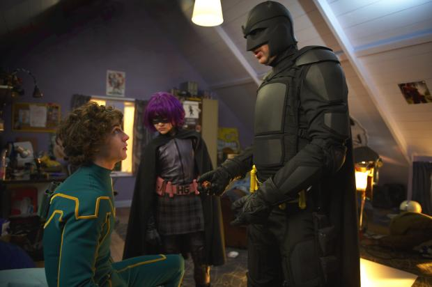 HeraldScotland: Aaron Tayjor-Johnson, Chloe Grace Moretz and Nicolas Cage in Kick-Ass