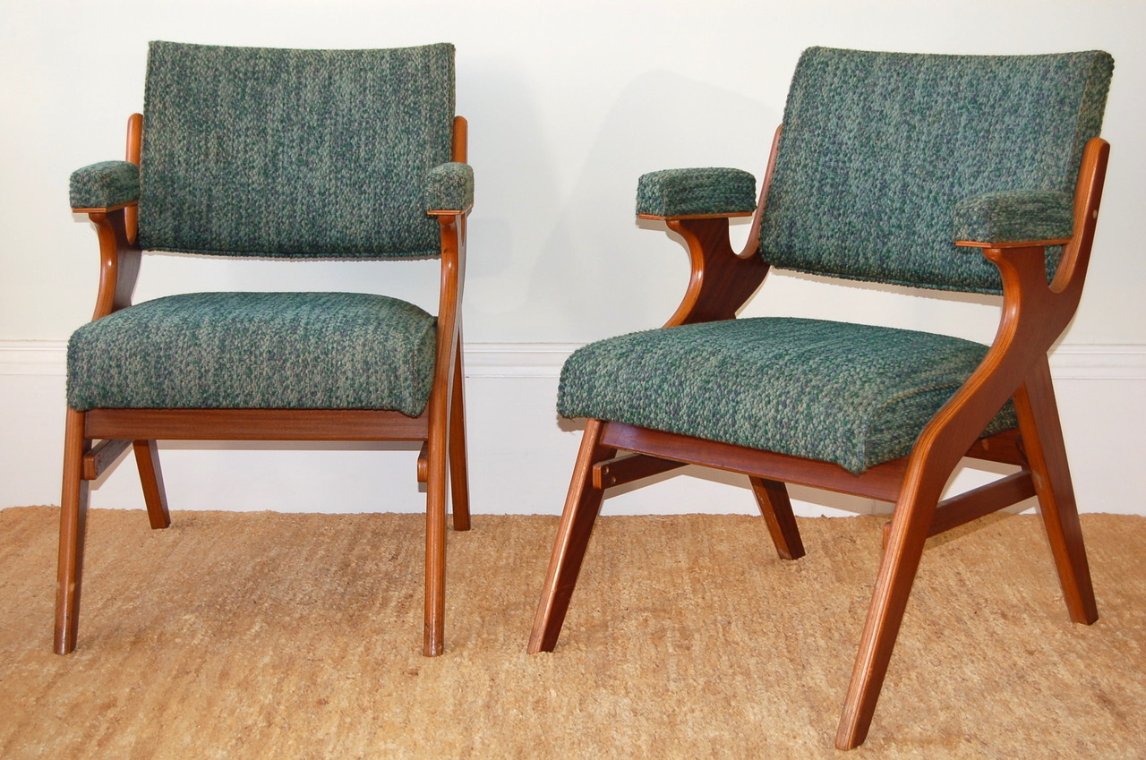 Morris of Glasgow chairs, with arms, in laminated wood and original boucle fabric - made by Morris Chair Co Ltd, Carmyle.