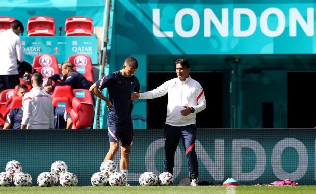 HeraldScotland: Croatian Borna Barisic (left) and manager Zlatko Dalic during training session at Wembley Stadium