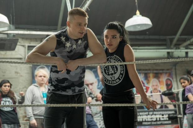 HeraldScotland: Lowden with Florence Pugh in Fighting With My Family