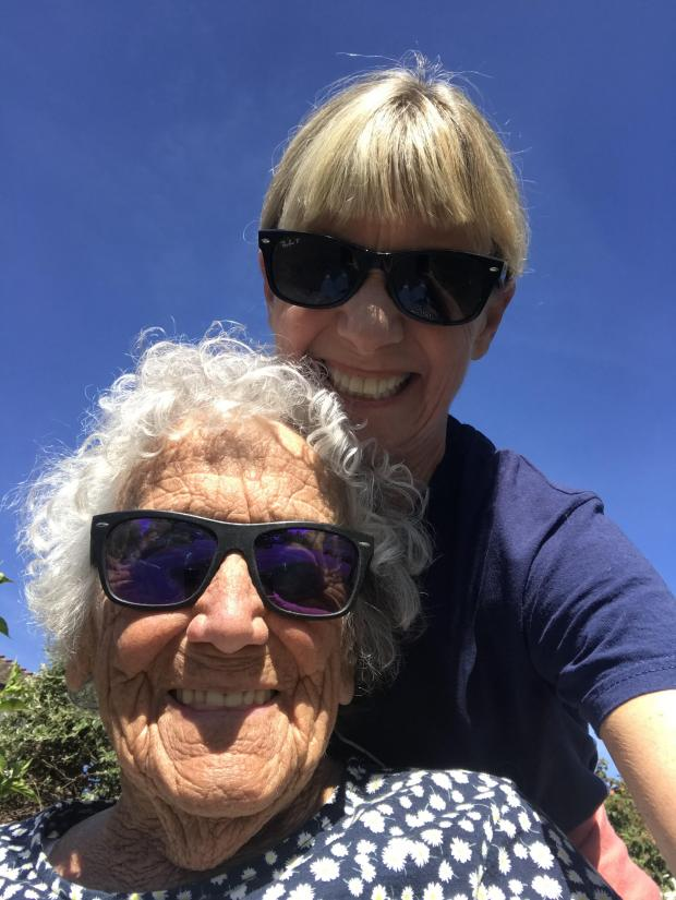 HeraldScotland: Kate Mosse with her vibrant mother-in-law, Granny Rosie. Photo © courtesy of Kate Mosse