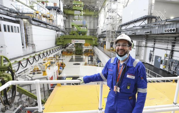 HeraldScotland: Station director Tamer Albishawi inside the turbine hall at Torness nuclear power plant in East Lothian