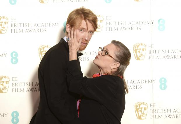 HeraldScotland: Gleeson with his Star Wars co-star the late Carrie Fisher