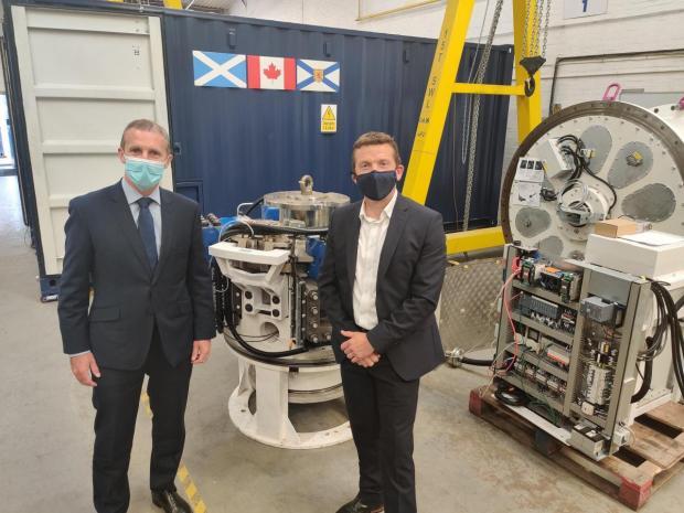 HeraldScotland: Net zero minister Michael Matheson and Nova Innovation chief executive Simon Forrest.