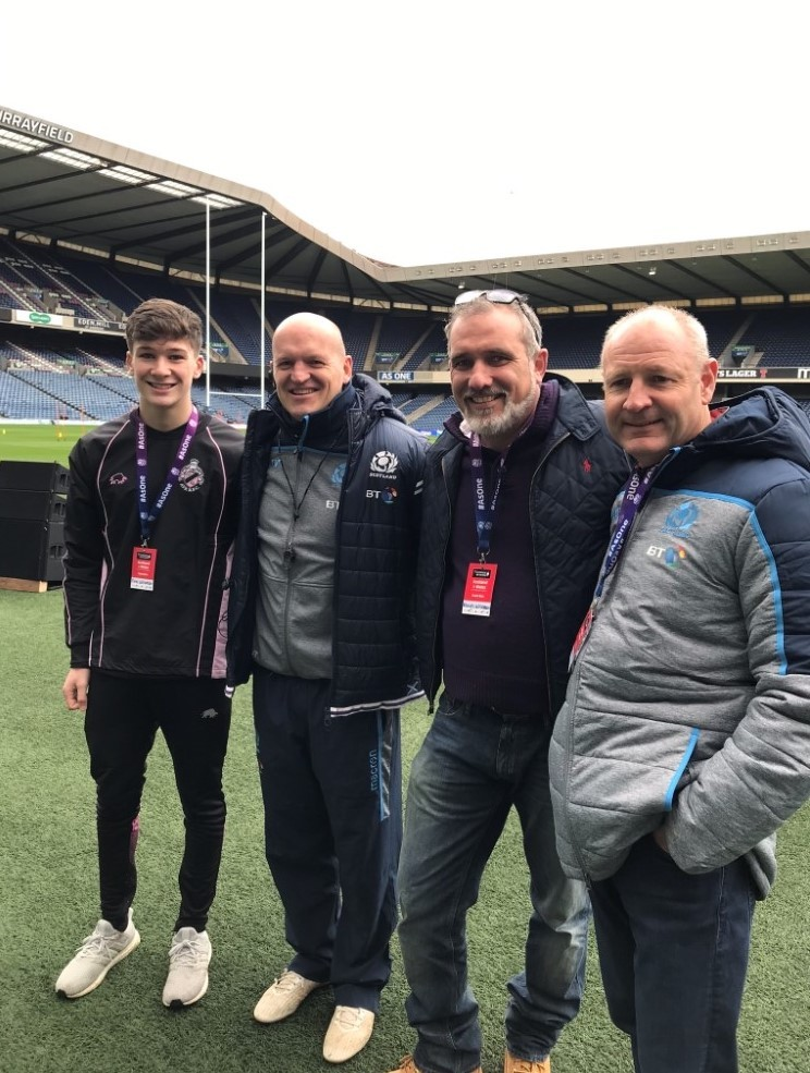 Findlay and Kevin Williamson with Scotland rugby head coach Gregor Townsend and Steve Gemmel, of Scottish Rugby