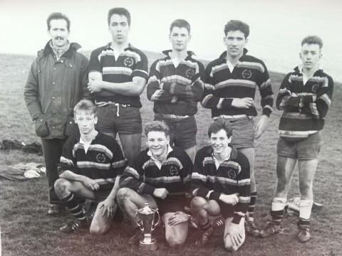 Kevin Williamson, back row, second right, in his playing days with Ayr rugby club