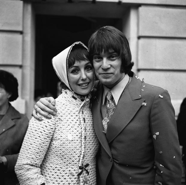 HeraldScotland: Una Stubbs with her bridegroom Nicky Henson in 1969.