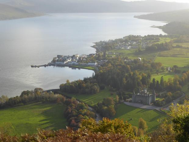 HeraldScotland: Inveraray, the castle and Loch Fyne from the top of Dun na Cuaiche. Picture: Ken MacTaggart