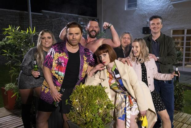 HeraldScotland: The cast of The Scotts: Louise McCarthy, Robert Florence, Lee Greig, Shauna Macdonald, Taylor Stewart, Sharon Young and Iain Connell. Picture: Martin Shields/The Comedy Unit/BBC
