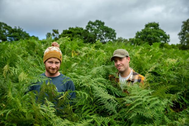 HeraldScotland: Andrew O'Donnell, left and Mark Taylor pictured in Stirlingshire. Andrew and Mark have a new BBC Scotland TV series called Roaming In The Wild... Photograph by Colin Mearns.18 August 2021.For The Herald Magazine, see story by Vicky Allan..