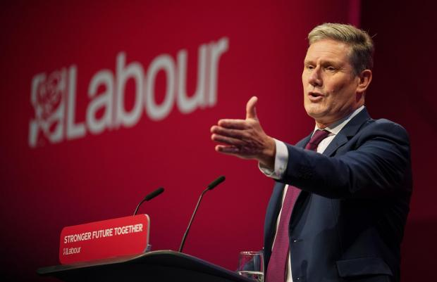 HeraldScotland: Labour party leader Sir Keir Starmer delivering his keynote speech at the Labour Party conference in Brighton.