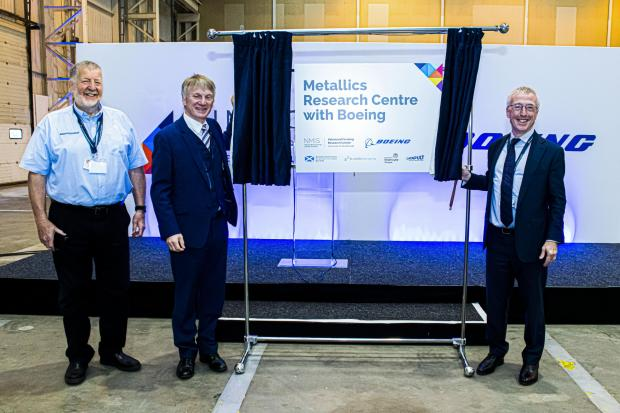 HeraldScotland: Keith Ridgway, NMIS Executive Chair; Minister for Business, Trade, Tourism and Enterprise, Ivan McKee; Sir Martin Donnelly, president of Boeing Europe and managing director of Boeing in the UK and Ireland at the launch event.