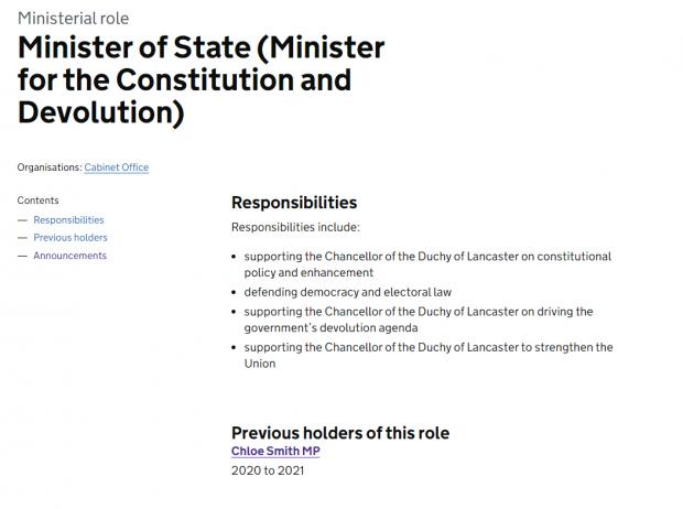 HeraldScotland: No role-holder is displayed for the Minister for the Constitution and Devolution since Chloe Smith left last month