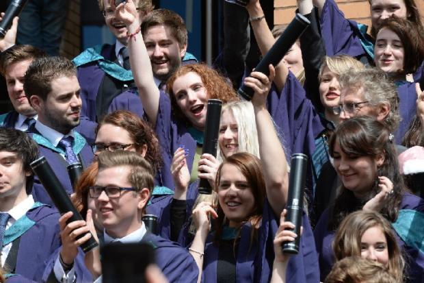 HeraldScotland: Graduates celebrate at the Royal Conservatoire in Glasgow, but numbers of students from the EU are down.