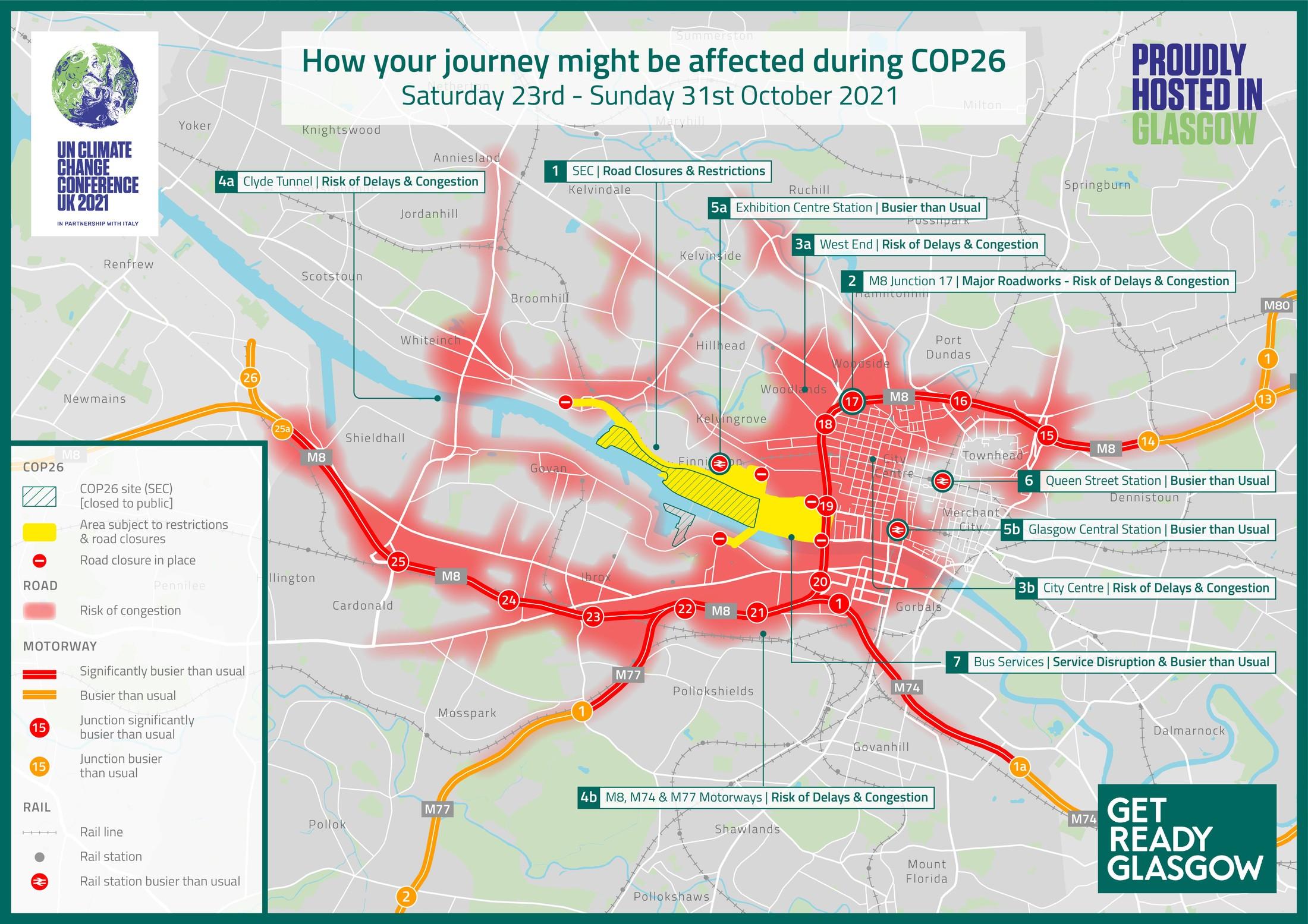 Penutupan jalan COP26 hari ini karena Clydeside Expressway dan persimpangan M8 tetap ditutup