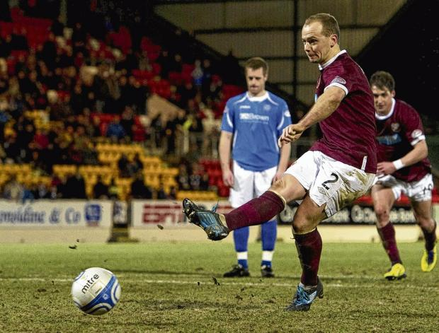st johnstone1 hearts2  Jamie Hamill fires in Hearts equaliser in time added on. Picture: SNS