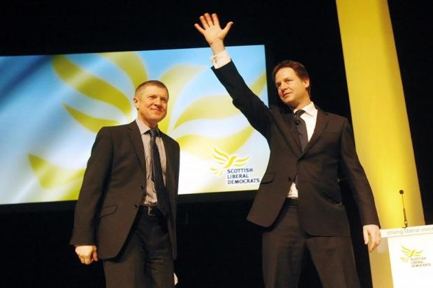 NO QUESTION: Nick Clegg with Scottish LibDem leader Willie Rennie in Inverness. Picture: Danny Lawson/PA