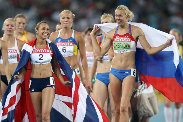 Tatyana Chernova, right, claimed gold in the women's heptathlon ahead of  Jessica Ennis