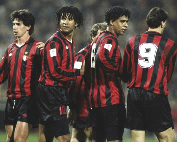 Ruud Gullitt, No.10, Frank Rijkaard and Marco van Basten, both right, were among the stellar names that played for AC Milan in the 1990s and each of them would arguably grace the feted Barcelona side of the present day. Picture: Getty