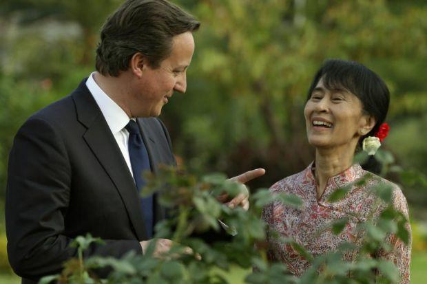 SHARED VALUES: David Cameron chats with Nobel laureate and newly elected parliamentarian Aung San Suu Kyi in Rangoon. Picture: Reuters
