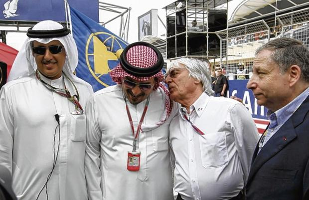 F1 supremo Bernie Ecclestone has a word in the ear of Crown Prince Sheikh Salman bin Hamad al-Khalifa, flanked by circuit chairman Zayed Alzayani and FIA president Jean Todt in Bahra