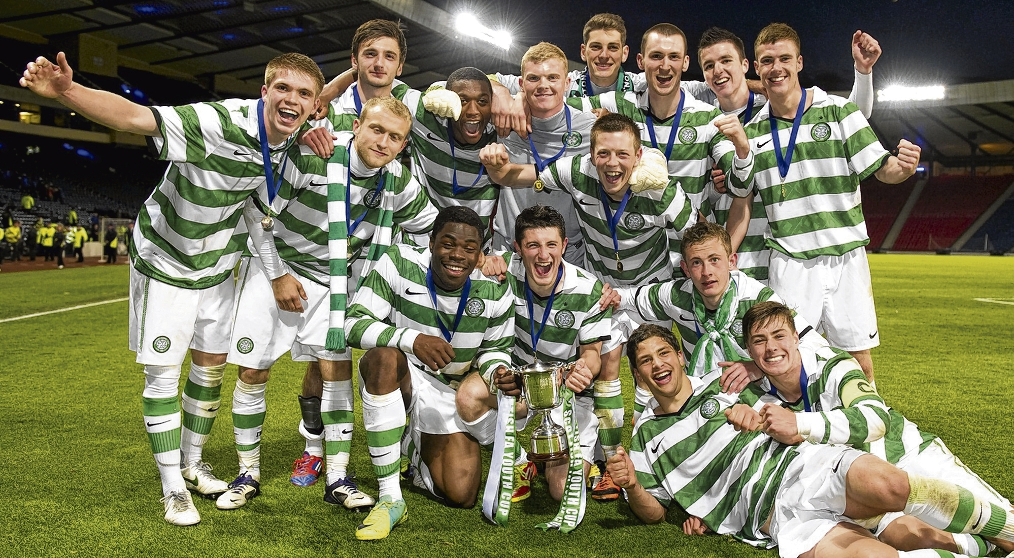 Celtic secured the trophy for a third consecutive season with a thumping victory. Picture: SNS