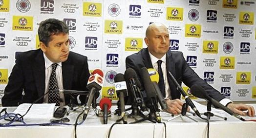 David Whitehouse, left, and Paul Clark of Duff & Phelps address the media yesterday. Picture: PA
