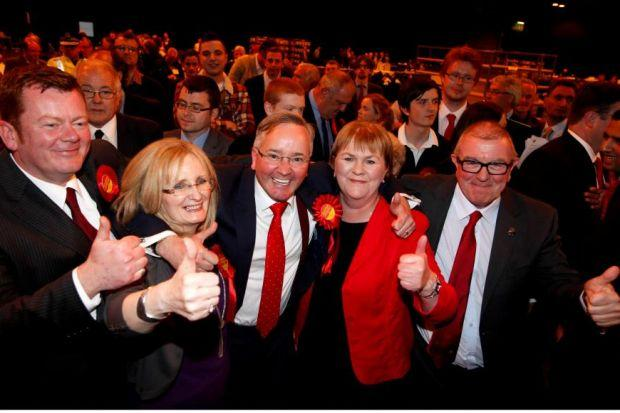 THUMBS UP: Glasgow Council leader Gordon Matheson celebrates with Margaret Curran MP, left, and Labour's Scottish leader Johann Lamont. Picture Martin Shields
