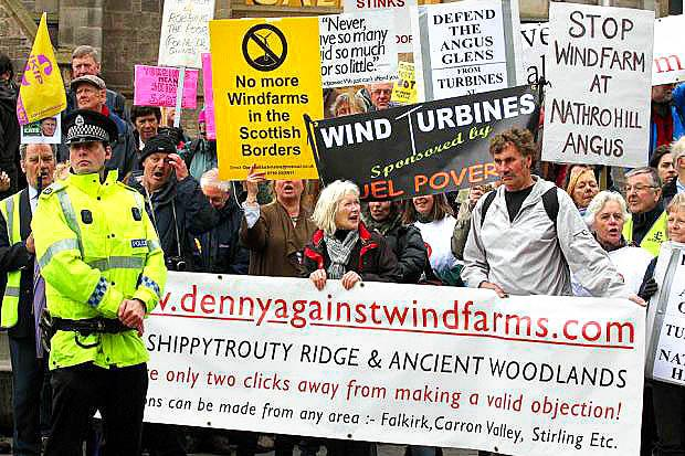 protest: Wind-farm plans have proved controversial.