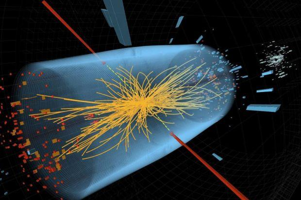 An illustration of the LHC collisions which may have revealed the Higgs boson