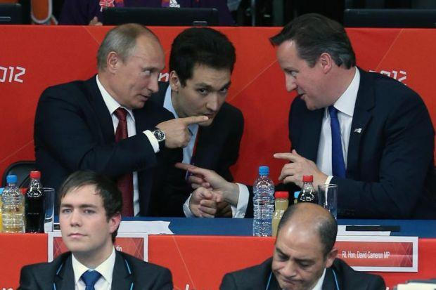 GOOD POINT: Despite their differences, David Cameron and Vladimir Putin share a common fear over what is happening in Syria. Picture: Getty Images