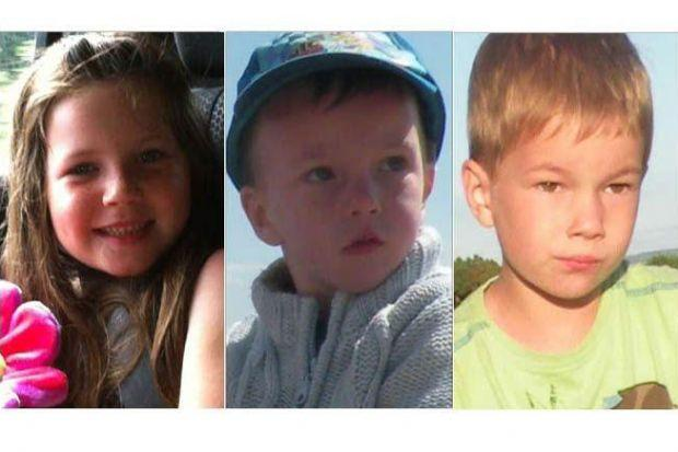 TRAGEDY: Gracie Mackay, five, Jamie Beaton, two, and brother Ewen, five, died in the accident.