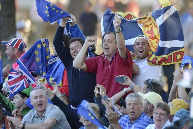 IN THE BAG: Supporters celebrate a famous European Ryder Cup win over the US, with golf fans already looking to buy tickets for the 2014 event at Gleneagles.