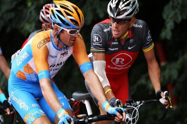 David Millar rides alongside Lance Armstrong in the 2010 Tour de France   Photograph: Getty